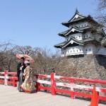 弘前公園で弘前城をバックに結婚式の撮影が行われていました!