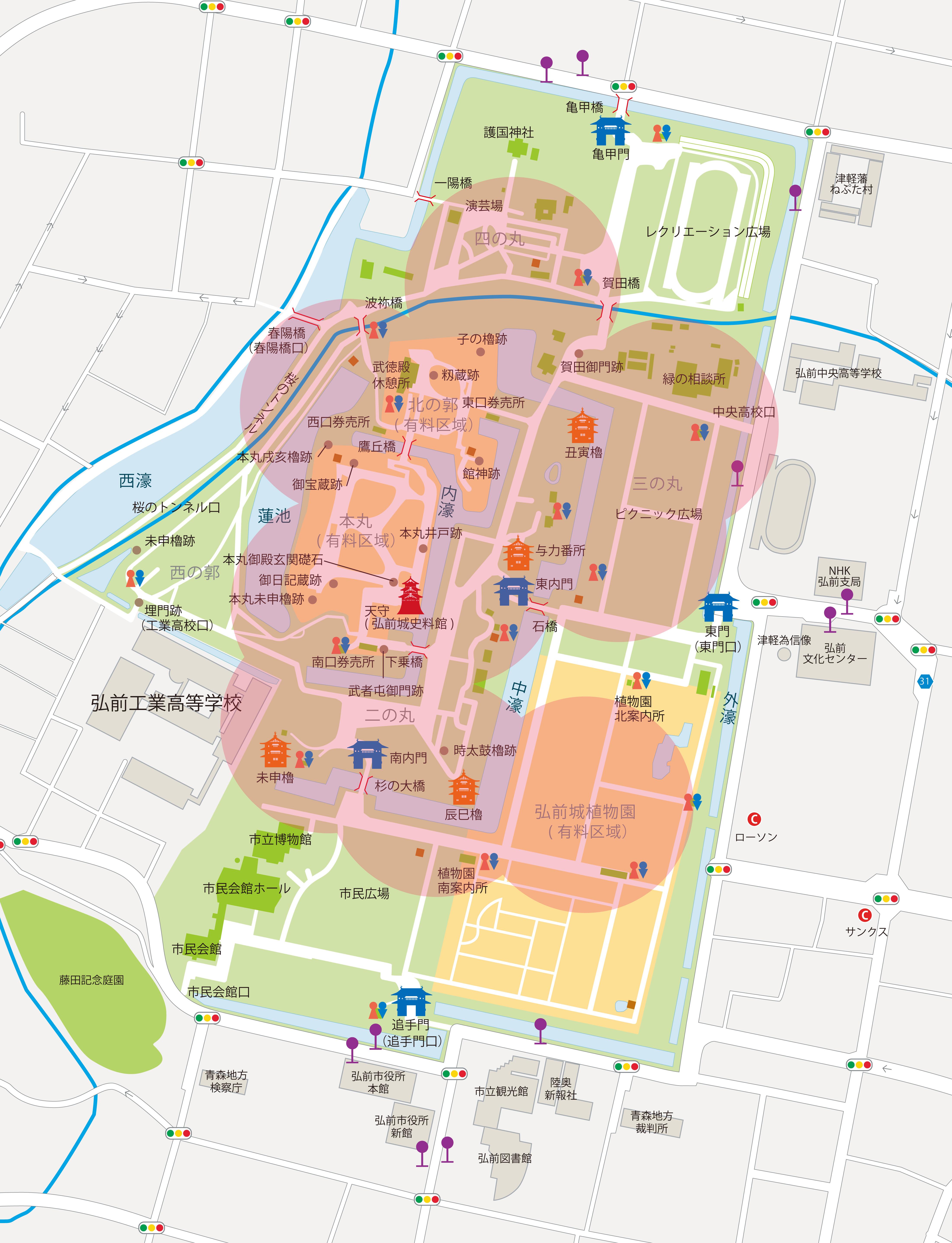 弘前公園 FreeWiFi 利用可能場所一覧