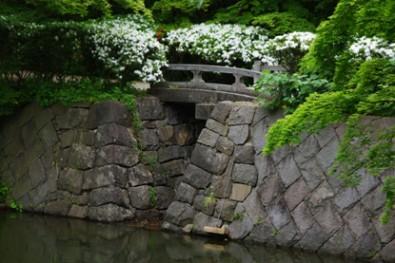 石橋がダムの仕組みになっている様子