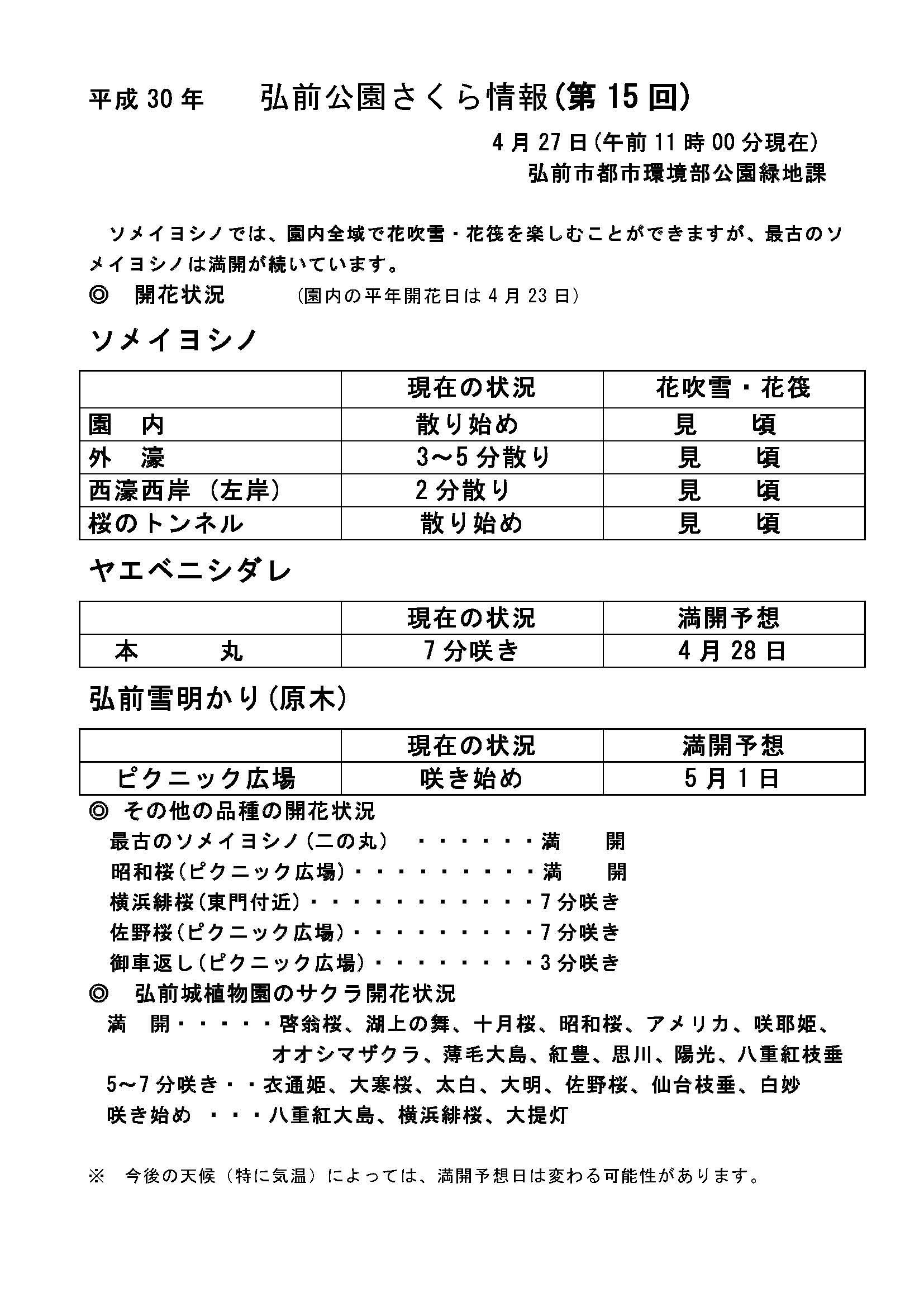 2018年4月27日付 弘前公園さくら情報(第15回)【弘前公園・弘前城】