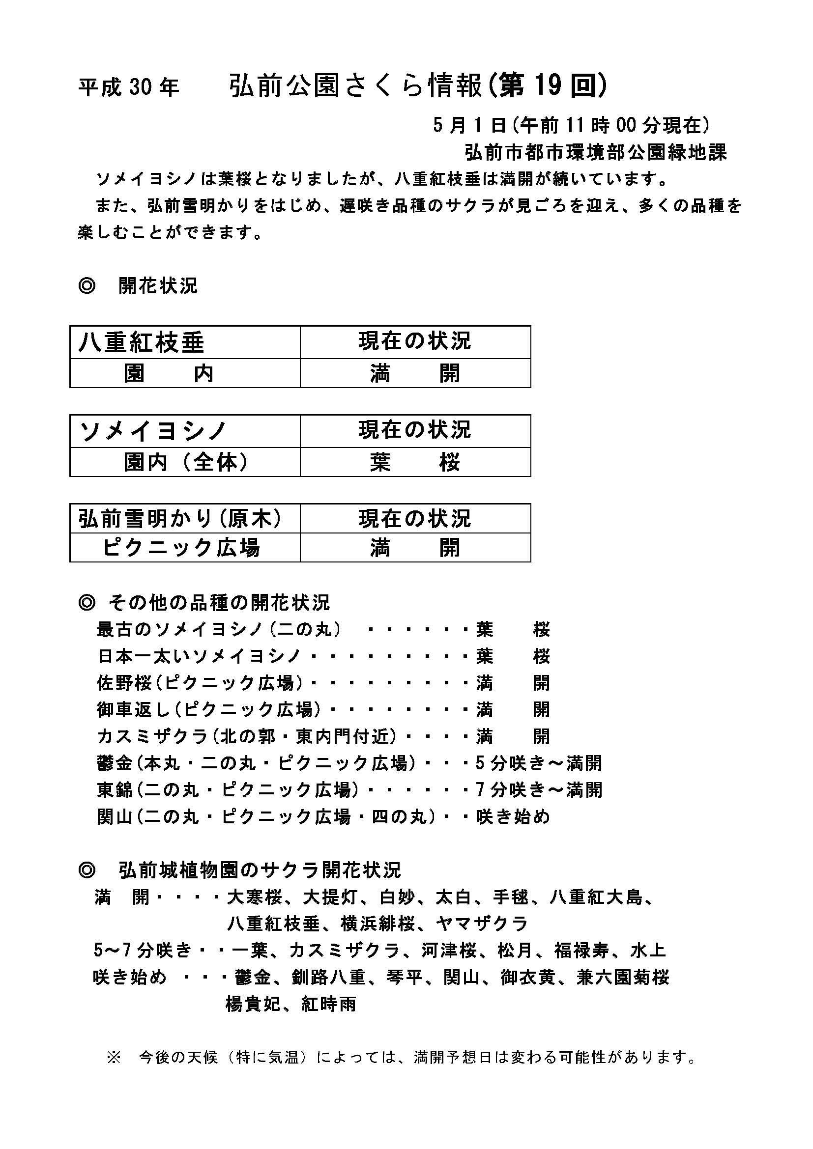 2018年5月1日付 弘前公園さくら情報(第15回)【弘前公園・弘前城】