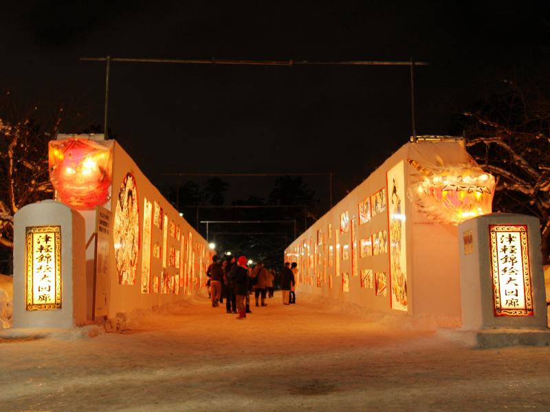 弘前公園・弘前城の2014年弘前雪灯篭まつり 会場の様子 津軽錦絵大回廊 ねぷた絵2