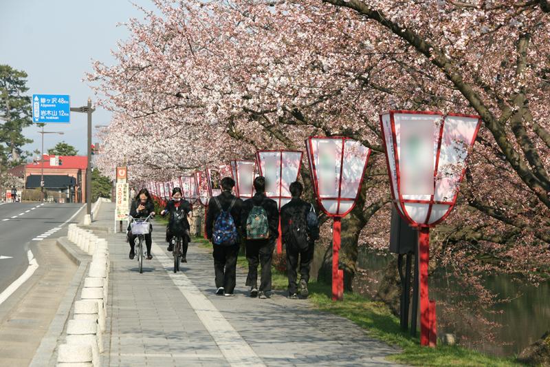 弘前城外濠の様子
