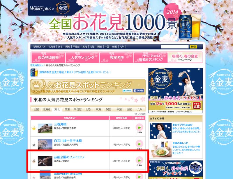 全国お花見1000景・東北の人気お花見スポットランキングにランクインした弘前公園(弘前城)のソメイヨシノ