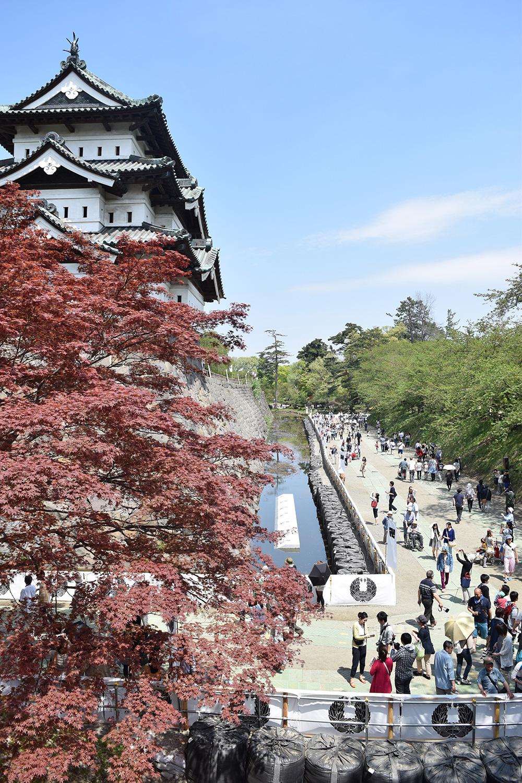 弘前城 内濠の一般開放の様子