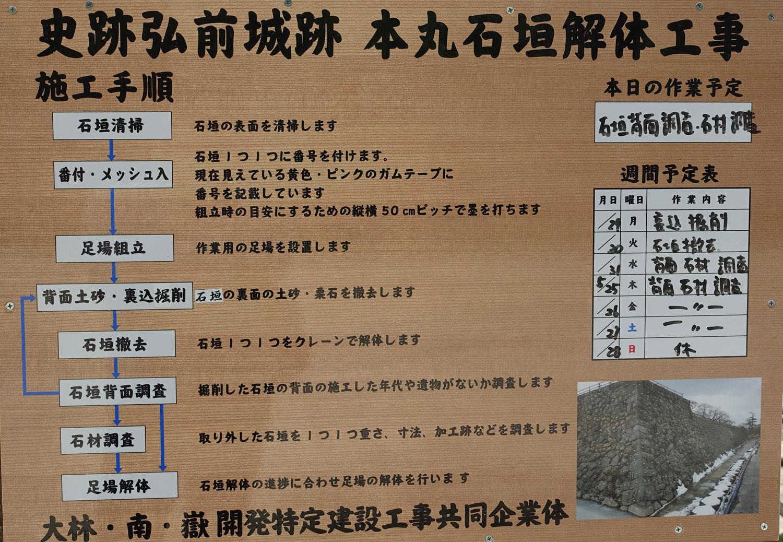 弘前城 本丸石垣解体工事【弘前城石垣修理事業