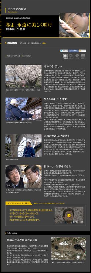 NHKプロフェッショナル弘前公園樹木医・小林勝さん再放送5月10日