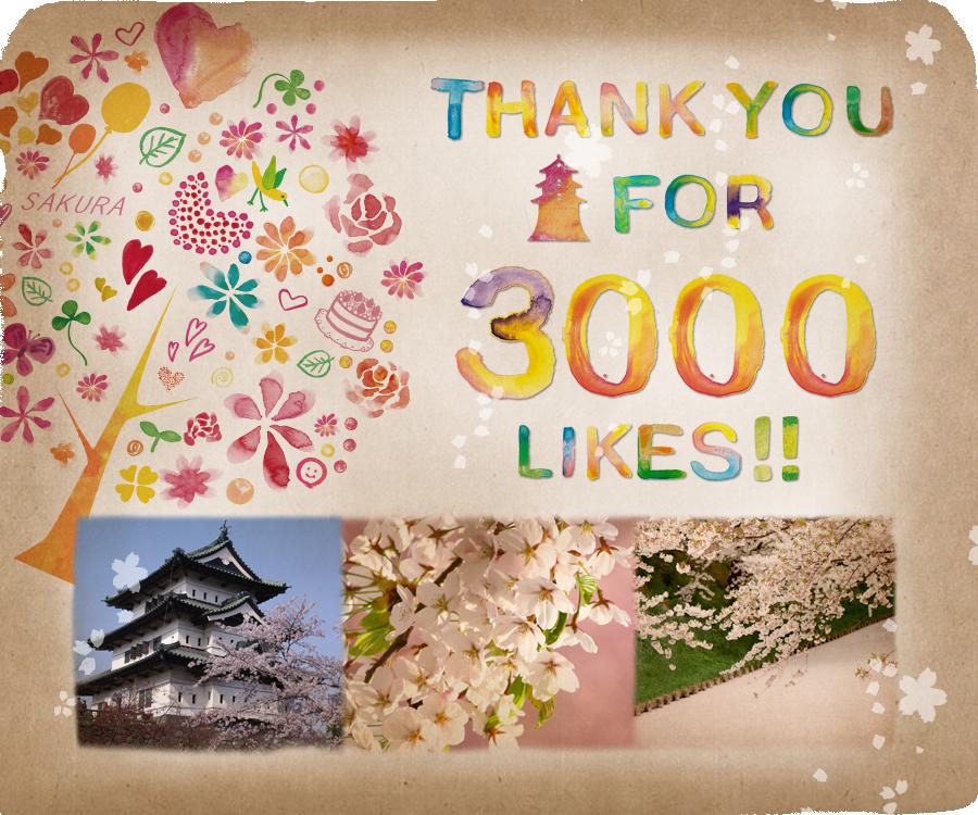 弘前さくらまつり3000いいねありがとうございます!