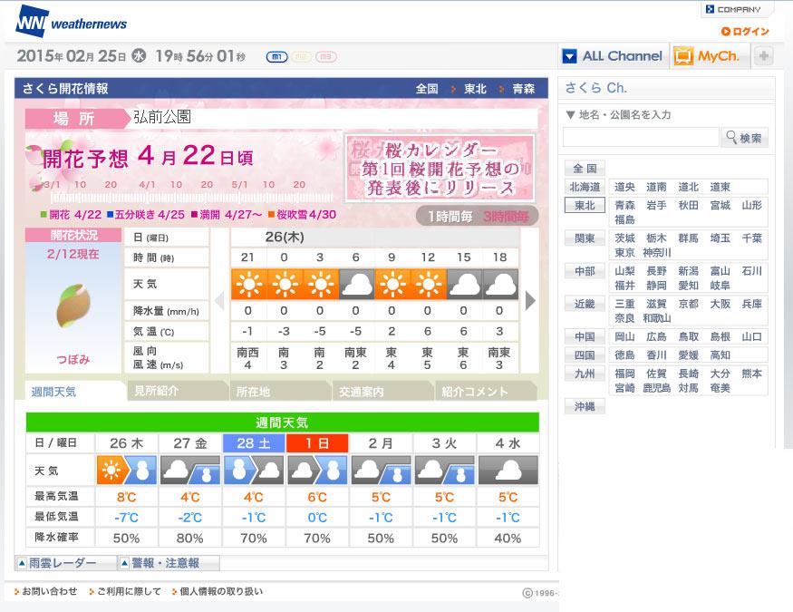 弘前の桜開花予想【ウェザーニュース/東京】2015年2月4日発表