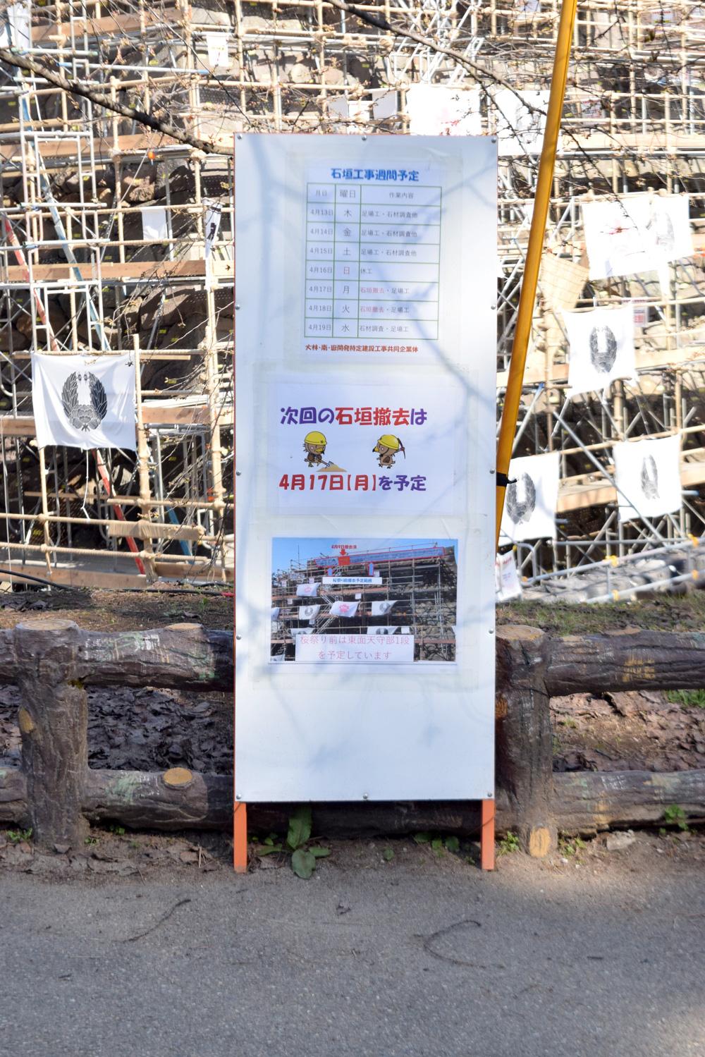 弘前城 石垣工事の週間予定