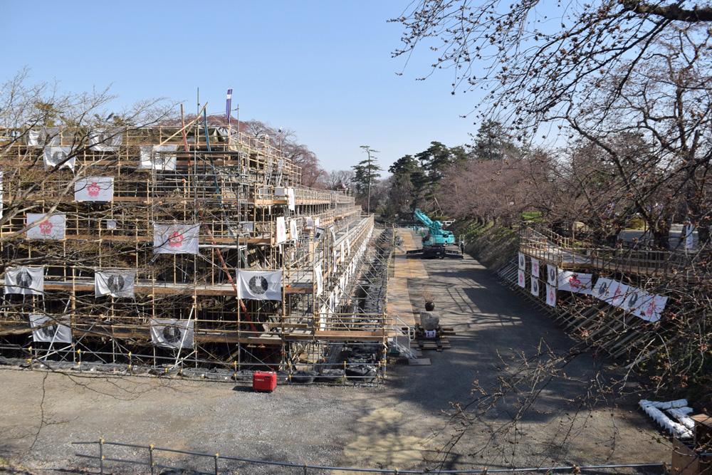 弘前城本丸・石垣改修 解体作業