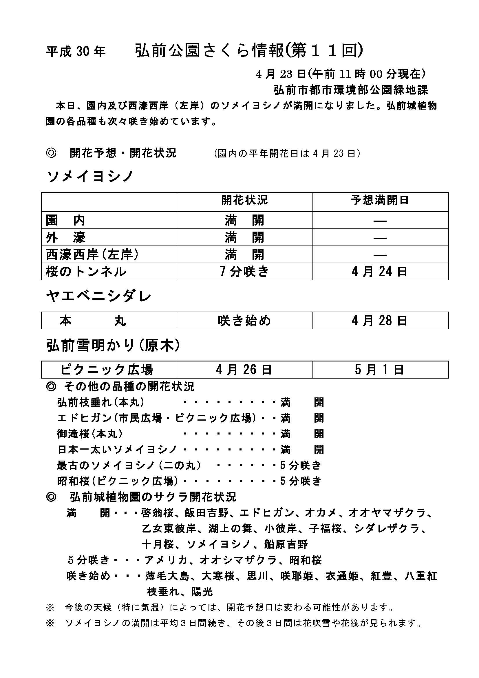 2018年4月23日付 弘前公園さくら情報(第10回)【弘前公園・弘前城】