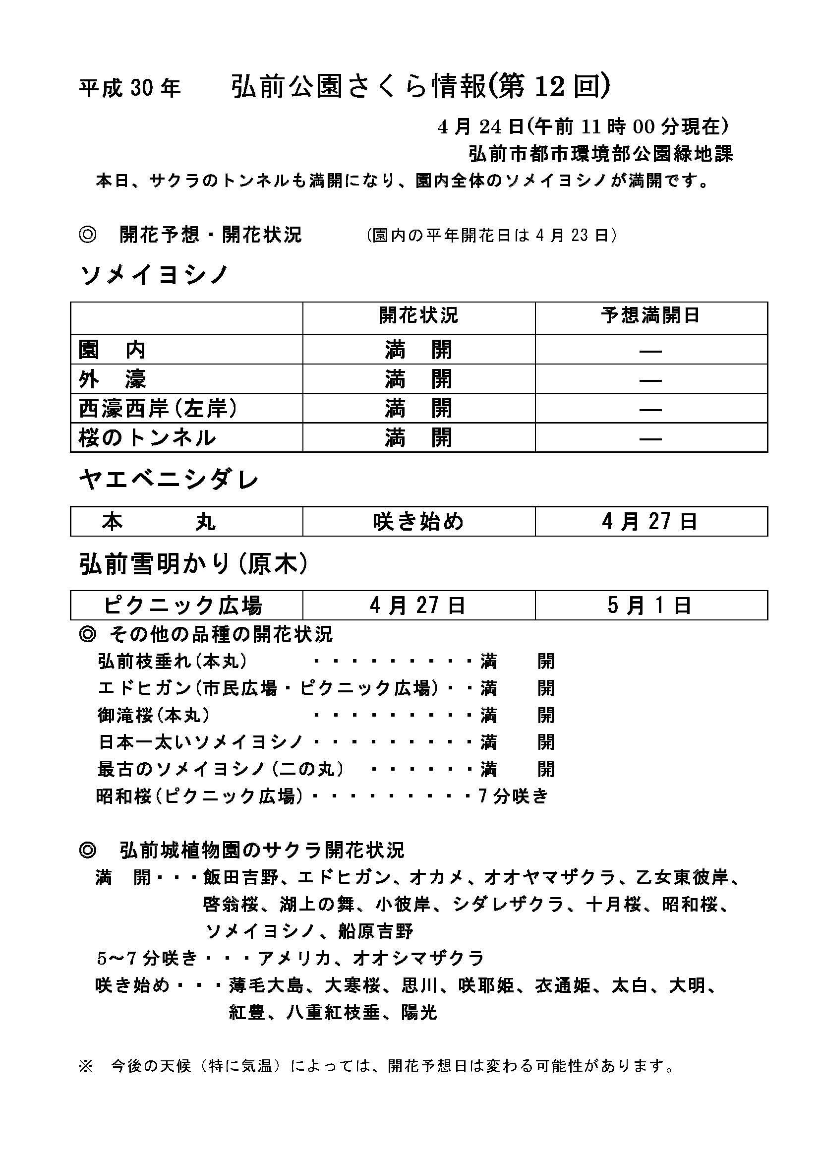 2018年4月24日付 弘前公園さくら情報(第10回)【弘前公園・弘前城】